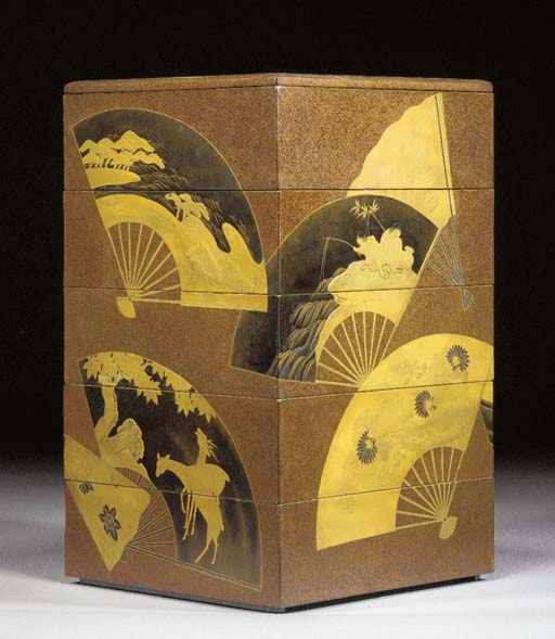 A lacquer five tier box and tw
