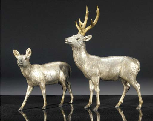 A silvered bronze group of a d