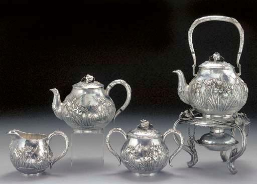 A Japanese silver tea set Earl
