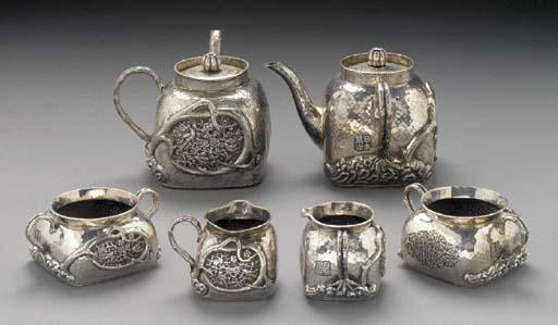 Two silver part tea services E