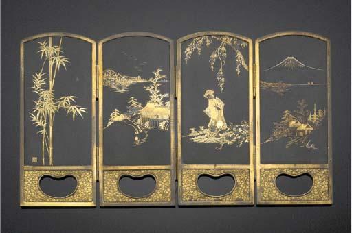 A Small Komai Four-Fold Screen