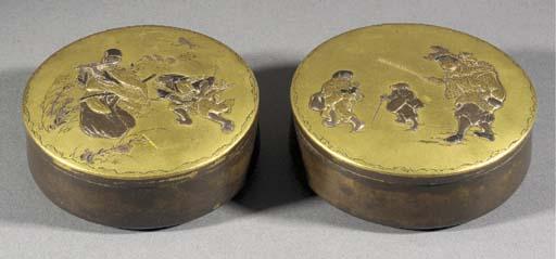 Two patinated bronze circular