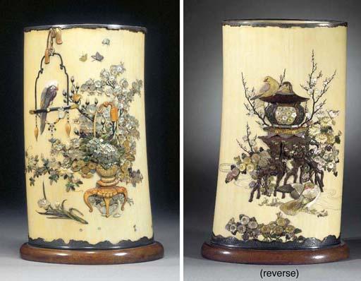 A Shibayama tusk vase Meiji Pe