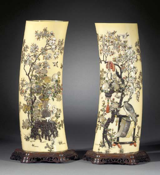 A pair of Shibayama tusk vases