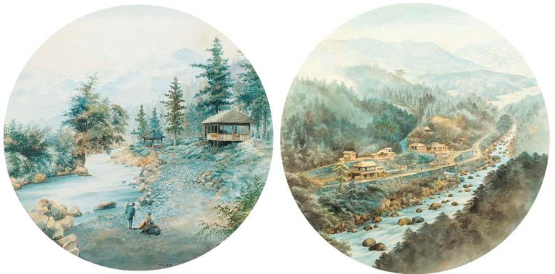 A pair of landscape watercolou