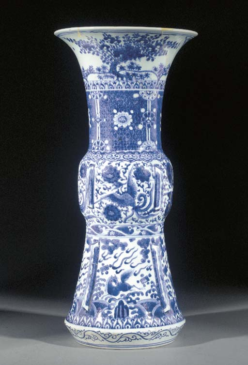 An Arita Blue and White Gu Vas