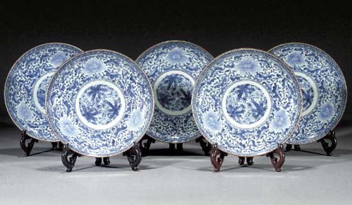 Five Japanese blue and white d