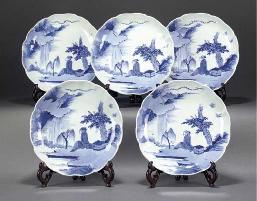 Ten blue and white lobed rim d