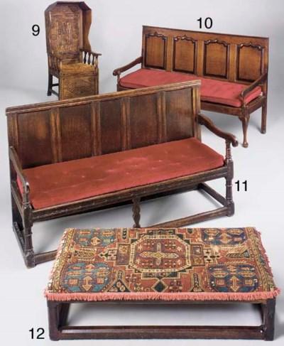 An oak framed long stool, Engl
