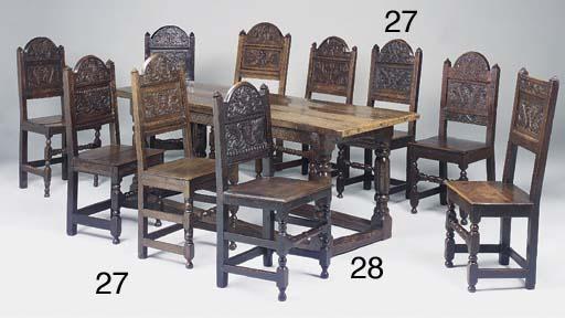 A matched set of ten oak backs