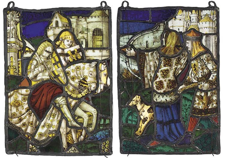 A pair of leaded stained glass