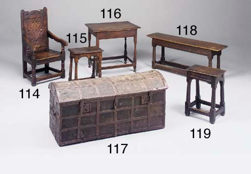 An oak joined bench, English,