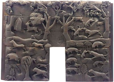 A carved oak panel, English or