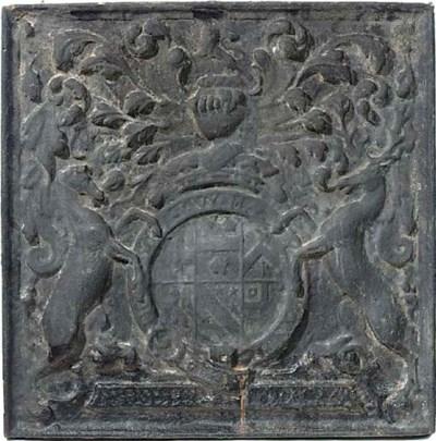 An English cast iron fireback,