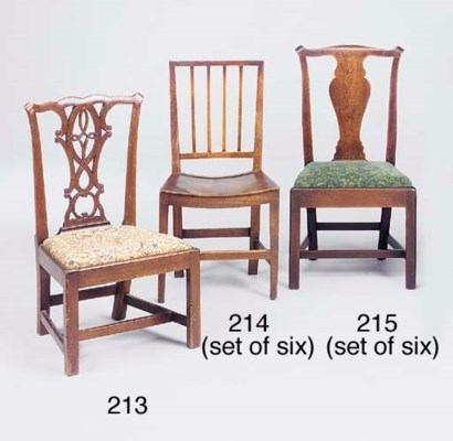 A set of six elm dining chairs