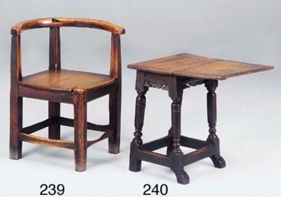 An elm corner chair, English,