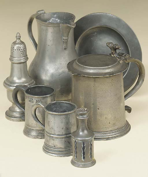 A small collection of pewter t