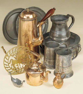 A collection of metalware, 18t
