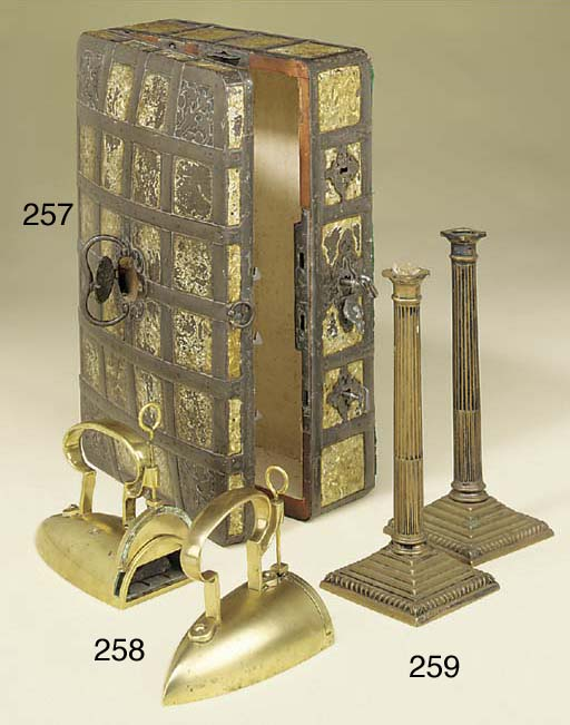 A pair of English brass flat i