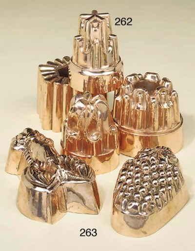 Four Victorian copper jelly mo