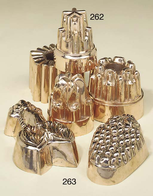 Two copper jelly moulds, 20th