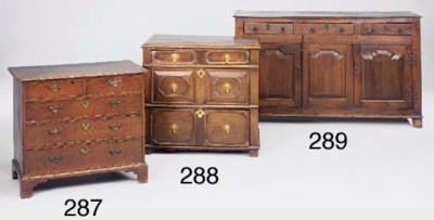 A small oak chest of drawers,