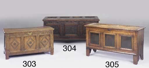 An oak panelled chest, English
