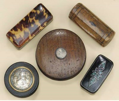 Four snuff boxes, 19th century