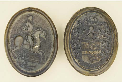 A pressed horn snuff box, earl