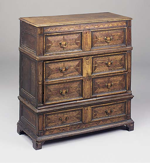 A walnut, fruitwood and cheque