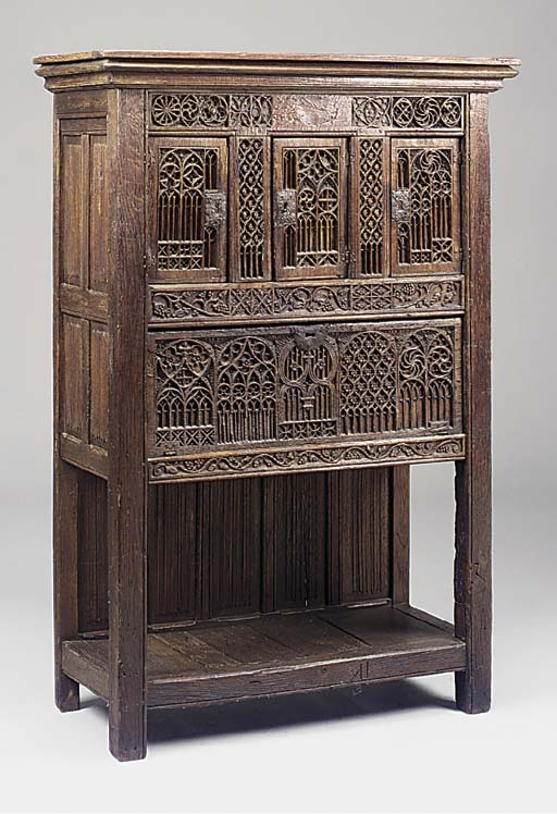 An oak cupboard, French, 19th