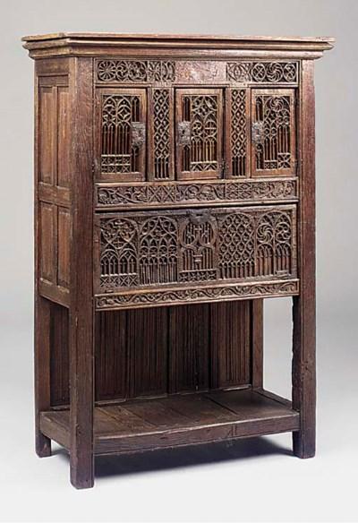 An oak cupboard, French, 19th