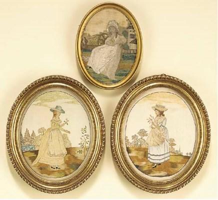 A pair of Regency silkwork pic