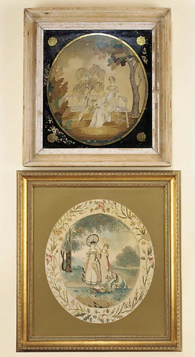 Two Regency silkwork pictures