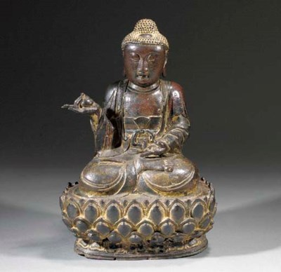 A lacquered bronze model of Bu