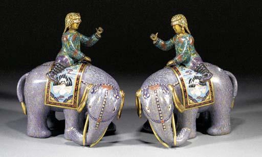 A pair of cloisonne elephants
