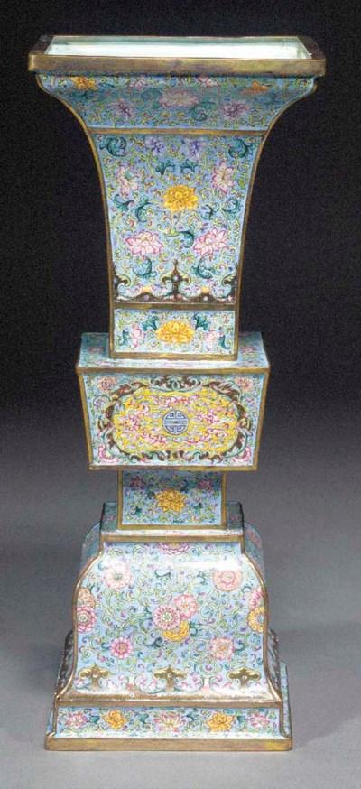 A Canton enamel rectangular Gu