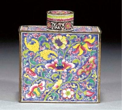 A Canton enamel tea caddy and