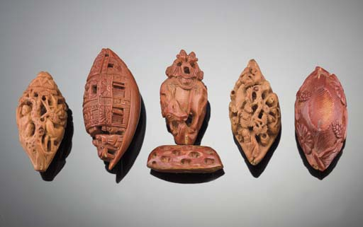A group of nut carvings 19th C