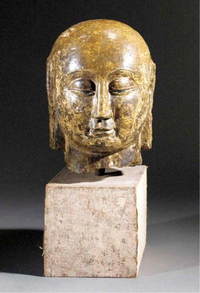 A marble Buddha head Yuan dyna
