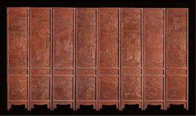 A cinnabar lacquer eight-fold