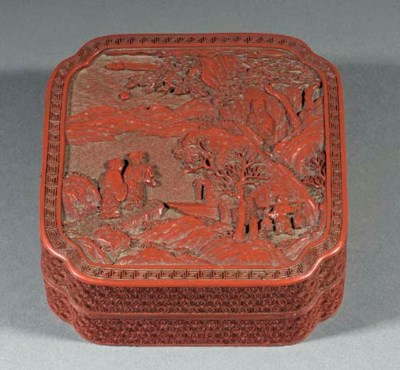 A Cinnabar lacquer square box