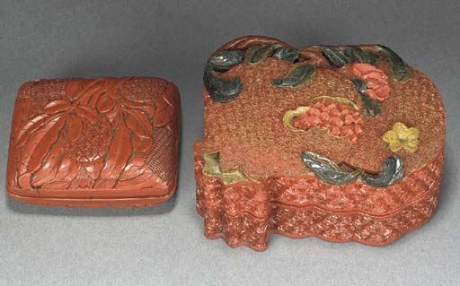 A small cinnabar lacquer box a