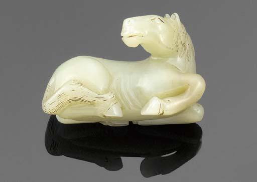A celadon jade model of a hors