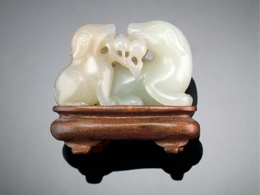 A celadon jade dog group Early