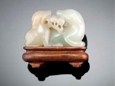 A celadon jade dog group Early