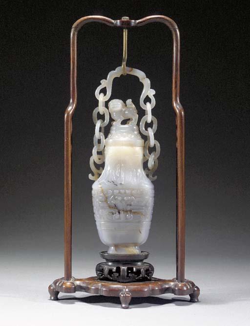 An agate hanging baluster vase