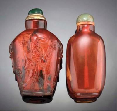 An amber snuff bottle 19th Cen