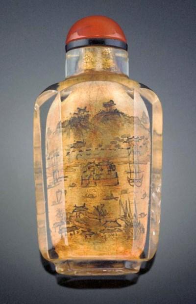 An inside painted crystal snuf