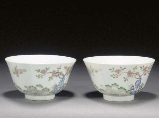 A pair of famille rose bowls 1
